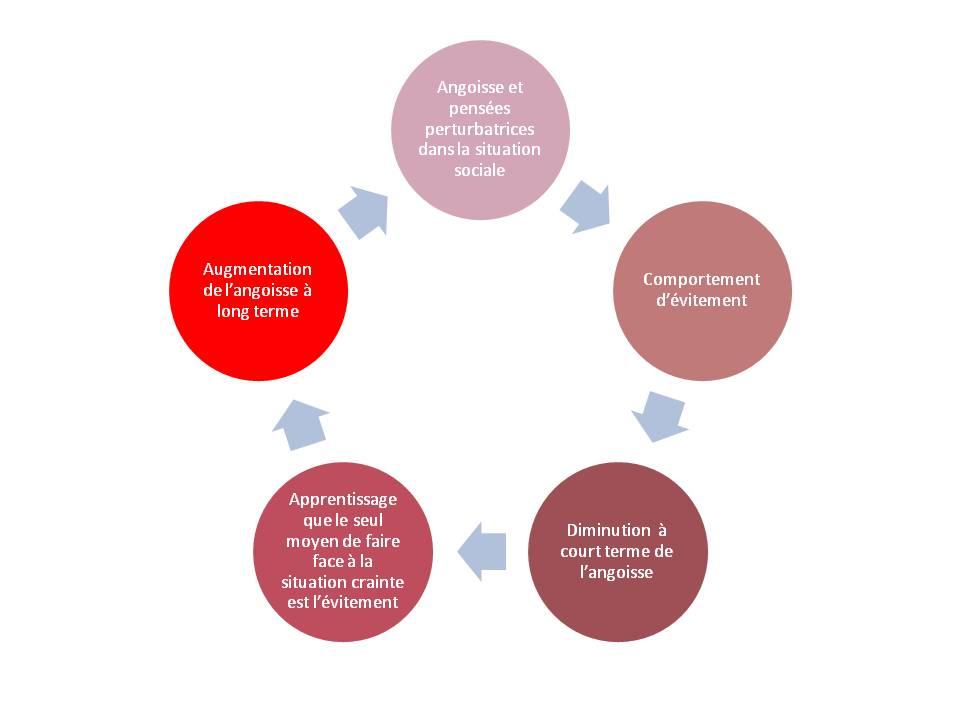 mécanisme TCC avec cercle vicieux de la phobie ou anxiété sociale